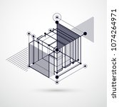 isometric abstract black and... | Shutterstock .eps vector #1074264971