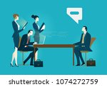 two businessmen with assistants ... | Shutterstock .eps vector #1074272759