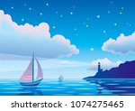 Vector Evening Seascape With...