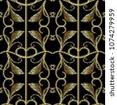 baroque gold embroidery style... | Shutterstock .eps vector #1074279959