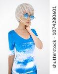 fashion photo of yong slender... | Shutterstock . vector #1074280601