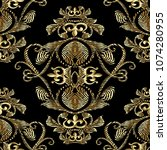 baroque gold embroidery 3d... | Shutterstock .eps vector #1074280955