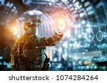 soldier in glasses of virtual... | Shutterstock . vector #1074284264