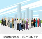 vector illustration of a group... | Shutterstock .eps vector #1074287444
