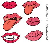 vector set of mouth and tongue | Shutterstock .eps vector #1074289091