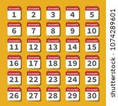 november calendar icons set on... | Shutterstock .eps vector #1074289601