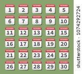 december calendar icons set on...   Shutterstock .eps vector #1074292724