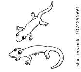 vector set of lizards | Shutterstock .eps vector #1074295691