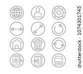 toolbar icons for application... | Shutterstock .eps vector #1074301745