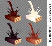 wafer with pouring chocolate... | Shutterstock .eps vector #1074302015