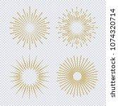 sunburst set gold glitter style ... | Shutterstock .eps vector #1074320714