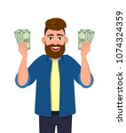 successful man   man with money ... | Shutterstock .eps vector #1074324359