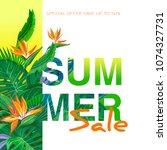 summer sale vector banner... | Shutterstock .eps vector #1074327731