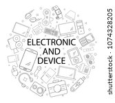 vector electronic and device... | Shutterstock .eps vector #1074328205