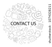 vector contact us pattern with... | Shutterstock .eps vector #1074328211