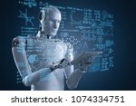 3d rendering robot learning or... | Shutterstock . vector #1074334751