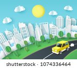 paper art background with... | Shutterstock .eps vector #1074336464