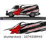 cargo van graphic. abstract... | Shutterstock .eps vector #1074338945