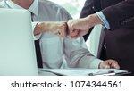 business partners trust two... | Shutterstock . vector #1074344561