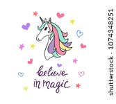 cute unicorn with phrase... | Shutterstock .eps vector #1074348251