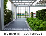 outdoor empty corridor with... | Shutterstock . vector #1074350201