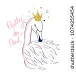 hand drawing flamingo...   Shutterstock .eps vector #1074355454