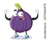cartoon figs mascot shows its... | Shutterstock .eps vector #1074364475