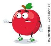 cartoon scared red apple mascot ... | Shutterstock .eps vector #1074364484