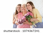 young woman with daughter... | Shutterstock . vector #1074367241