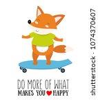 vector illustration of fox on a ... | Shutterstock .eps vector #1074370607
