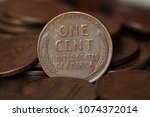 Close up of US one cent coins pile - stock photo