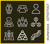 set of 9 group outline icons... | Shutterstock .eps vector #1074375317