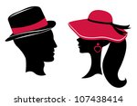 man and woman head silhouettes   Shutterstock .eps vector #107438414