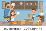 moving house family. men... | Shutterstock .eps vector #1074384449
