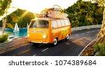 cute little retro car with... | Shutterstock . vector #1074389684