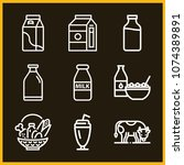 set of 9 milk outline icons... | Shutterstock .eps vector #1074389891