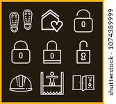 set of 9 security outline icons ...   Shutterstock .eps vector #1074389999