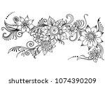 doodle art flowers hand drawn...   Shutterstock .eps vector #1074390209