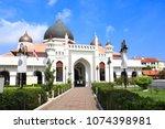 Kapitan Keling Mosque, Georgetown, Penang island, Malaysia. On blue sky background