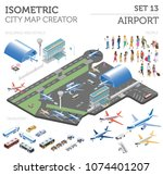 3d isometric airport and city... | Shutterstock .eps vector #1074401207