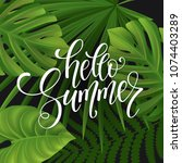 summer lettering  palm branches.... | Shutterstock .eps vector #1074403289
