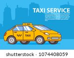 taxi yellow car.cab service... | Shutterstock .eps vector #1074408059