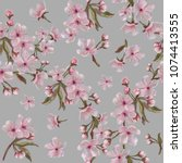 pink floral wreath seamless... | Shutterstock . vector #1074413555