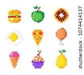 set of cute pixel art food... | Shutterstock .eps vector #1074414137