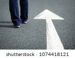 following the white direction... | Shutterstock . vector #1074418121