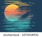 sunset on tropical beach with... | Shutterstock .eps vector #1074418931
