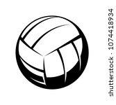 volleyball icon. contour ball... | Shutterstock .eps vector #1074418934