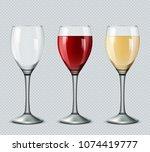 set transparent vector wine...   Shutterstock .eps vector #1074419777