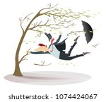 windy day and man with a hat... | Shutterstock .eps vector #1074424067