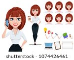 business woman in office style... | Shutterstock .eps vector #1074426461